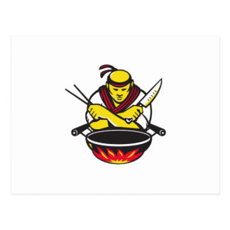 japanese cook chef with knife wok postcard