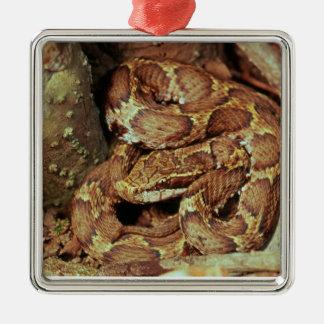 Japanese copperhead square metal christmas ornament