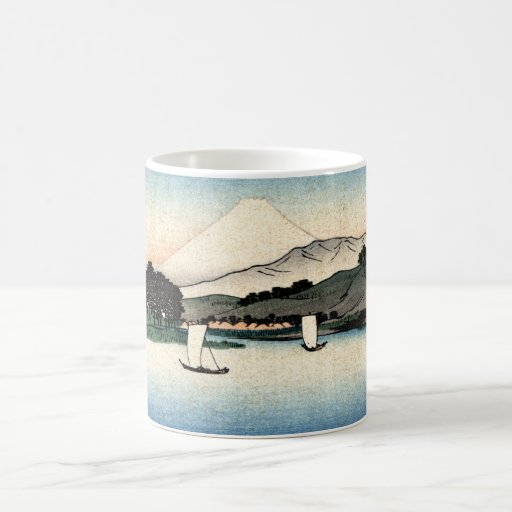 Japanese Countryside and Fishing Boats Coffee Mug