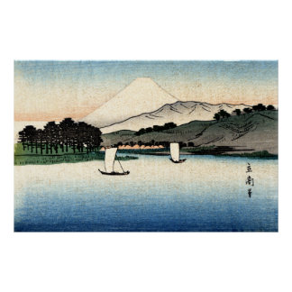 Japanese Countryside and Fishing Boats Poster
