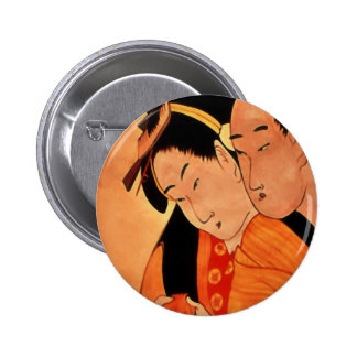 Japanese Couple button / badge