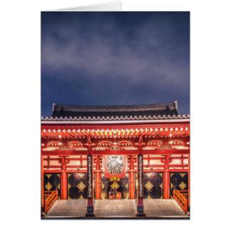 Japanese couple praying at Asakusa Temple, Tokyo Card