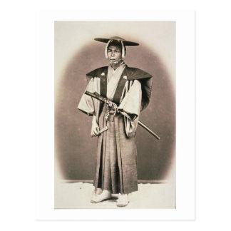 Japanese Court Official or Samurai, c.1870s (hand- Postcard