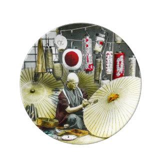 Japanese Craftsman Umbrella Maker No. 2 Vintage Porcelain Plate
