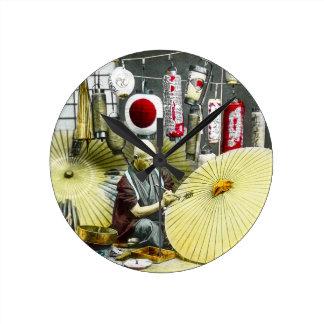 Japanese Craftsman Umbrella Maker No. 2 Vintage Round Clock