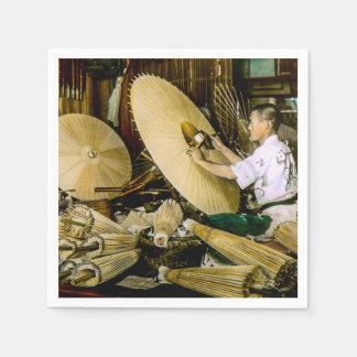 Japanese Craftsman Umbrella Maker Vintage Japan Paper Napkin