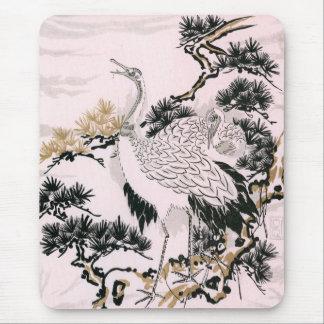 Japanese crane design mouse pad