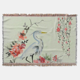 Japanese Crane design Throw Blanket