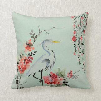 Japanese Crane design Throw Pillow
