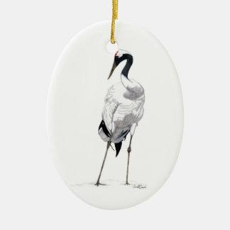 Japanese Crane (Grus japonensis) Ceramic Ornament