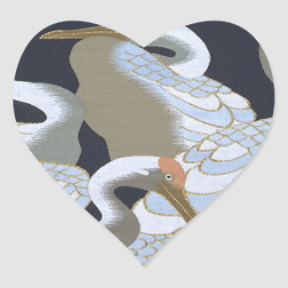 JAPANESE CRANE HEART STICKER