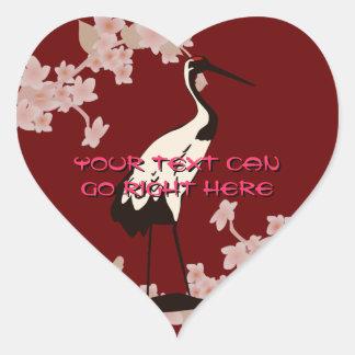 Japanese Crane Heart Stickers