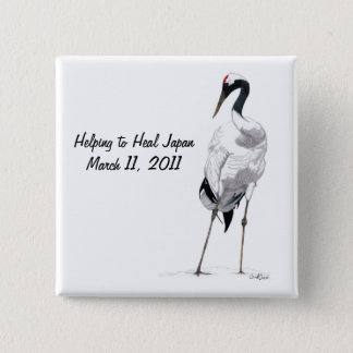 Japanese Crane-Helping to Heal Earthquake Support Pinback Button