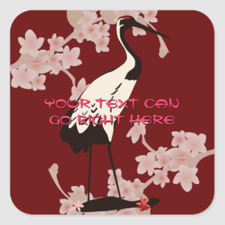 Japanese Crane Square Stickers
