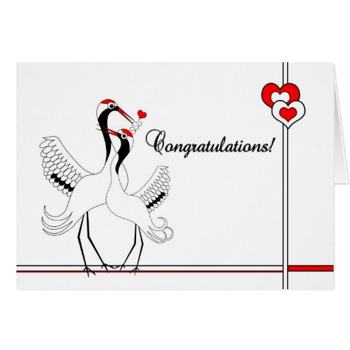 Wedding Wishes In Japanese: Japanese Cranes A Thousand Blessings Wedding Card