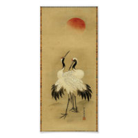 Japanese Cranes and Sun 18th Century Poster