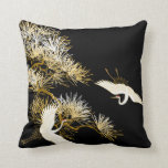 "Japanese Cranes Black Gold White Birds pillow<br><div class=""desc"">Japanese Cranes Black Gold White Birds pillow</div>"