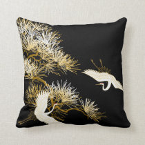 Japanese Cranes Black Gold White Birds pillow