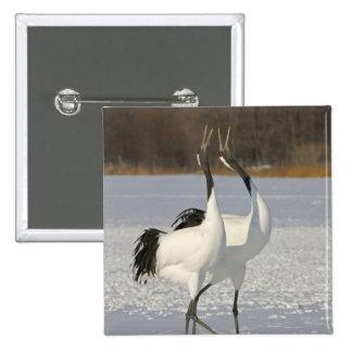 Japanese Cranes dancing on snow Pinback Button