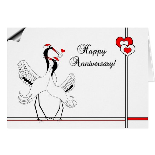 Japanese cranes happy anniversary card zazzle
