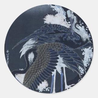 Japanese Cranes painting c. 1832-33 Round Stickers