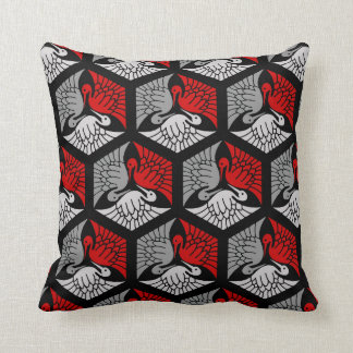 Japanese Cranes, Red, Gray / Grey and Black Throw Pillow