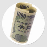 Japanese currency rolled round sticker