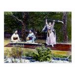 Japanese Dancer and Musicians Vintage Postcard