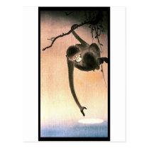 Japanese Dangling Monkey Woodblock Art Ukiyo-E Postcard