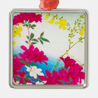 Japanese day lilies - magenta, yellow blue metal ornament