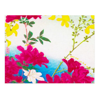 Japanese day lilies - magenta, yellow blue postcard