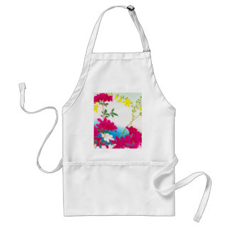 Japanese day lillies - magenta, yellow blue adult apron