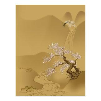 Japanese Design - Sakura by the River Postcard