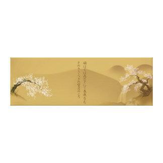 Japanese Design :: Sakura by the River sepia style Canvas Print