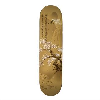 Japanese Design :: Sakura by the River sepia style Skateboard Deck