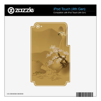 Japanese Design :: Sakura by the River sepia style iPod Touch 4G Skins