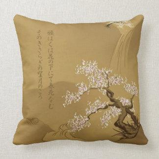 Japanese Design :: Sakura by the River sepia style Throw Pillow