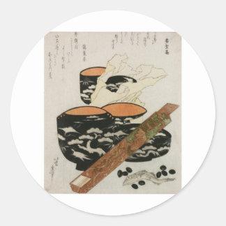 Japanese Dishware and Fish circa 1800s Classic Round Sticker