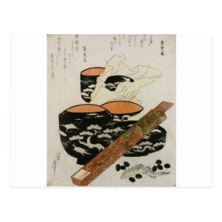 Japanese Dishware and Fish circa 1800s Postcard