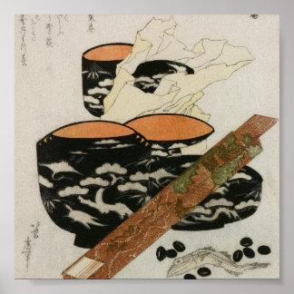 Japanese Dishware and Fish circa 1800s Poster
