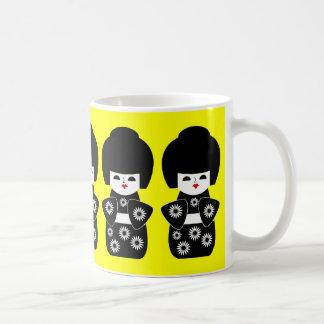 Japanese Dolls Black Mugs
