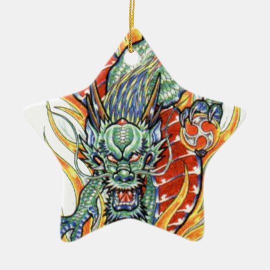 Japanese Dragon and Lotus Flower Ceramic Ornament