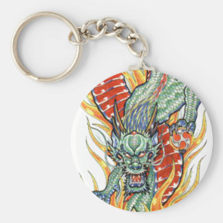 Japanese Dragon and Lotus Flower Keychains