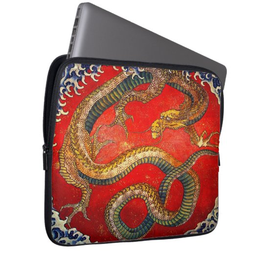 Japanese Dragon Art by Hokusai Laptop Sleeve