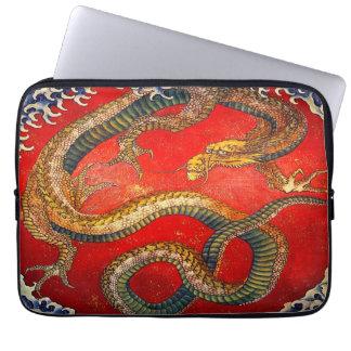 Japanese Dragon Art by Hokusai Laptop Sleeve