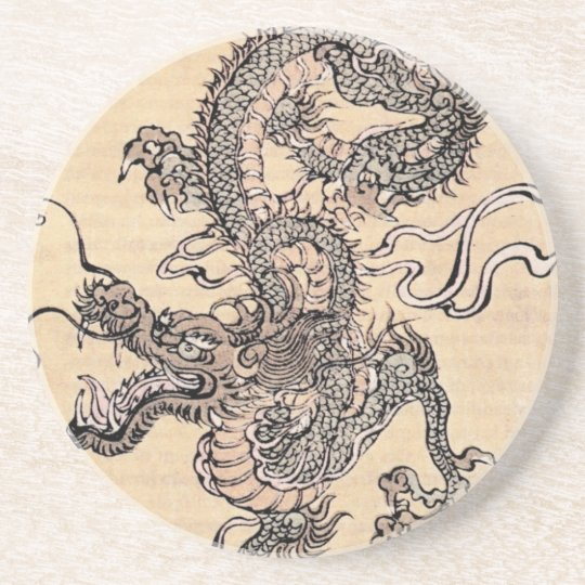 Japanese dragon artwork premium sandstone coaster