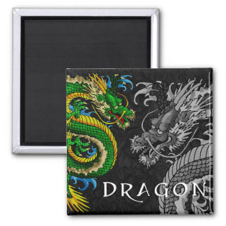 Japanese Dragon 2 Inch Square Magnet