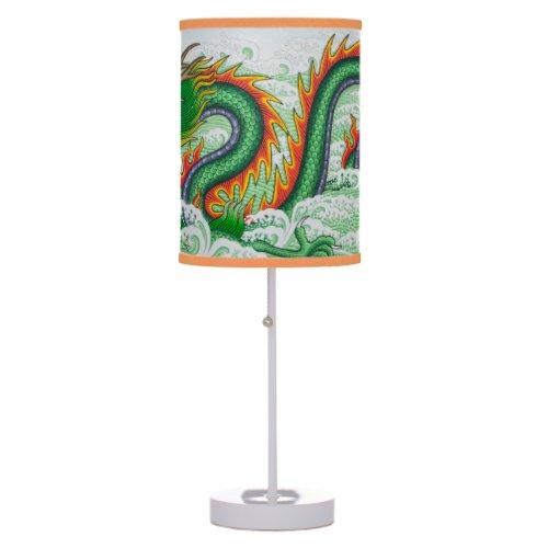 JAPANESE DRAGON PRINT DESK LAMP