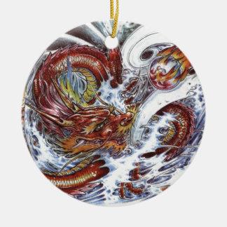 Japanese Dragon Tattoo Design Ceramic Ornament