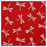 Japanese Dragonfly Pattern, Deep Red and White Fabric